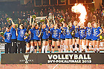 Halle/Westfalen, Germany, March 01: Players of Allianz MTV Stuttgart celebrate after defeating Ladies in Black Aachen to win the Volleyball DVV-Pokalfinale (Damen) on March 1, 2015 at the Gerry Weber Stadion in Halle/Westfalen, Germany. Final score 2-3 (25-17, 25-20, 19-25, 19-25, 13-15). (Photo by Dirk Markgraf / www.265-images.com) *** Local caption ***