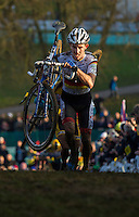 29 NOV 2014 - MILTON KEYNES, GBR - Philipp Walsleben (GER) from Germany and BKCP-Powerplus carries his to the top of a climb during the men's 2014-2015 UCI Cyclo-Cross World Cup round at Campbell Park in Milton Keynes, Great Britain (PHOTO COPYRIGHT © 2014 NIGEL FARROW, ALL RIGHTS RESERVED)