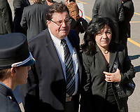 Tony Tomassi arrives at the funeral of Claude Bechard at the Sainte-Anne Cathedral in La Pocatiere Saturday September 11, 2010. Tomassi is the current Member of National Assembly of Quebec for the riding of LaFontaine in Montreal representing the Quebec Liberal Party and was the Minister for Family.<br /> <br /> PHOTO :  Francis Vachon - Agence Quebec Presse
