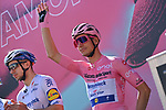 Race leader Maglia Rosa Joao Almeida (POR) Deceuninck-Quick Step at sign on before the start of Stage 6 of the 103rd edition of the Giro d'Italia 2020 running 188km from Castrovillari to Matera, Sicily, Italy. 7th October 2020.  <br /> Picture: LaPresse/Gian Mattia D'Alberto | Cyclefile<br /> <br /> All photos usage must carry mandatory copyright credit (© Cyclefile | LaPresse/Gian Mattia D'Alberto)