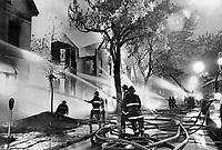 1977 File -<br /> <br /> Two smoke detectors in every home will get your family out before this happens.<br /> <br /> Photo : Boris Spremo - Toronto Star archives - AQP
