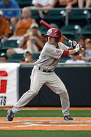 Outfielder Erik Ross #6 of the Oklahoma Sooners at bat against the Texas Longhorns in NCAA Big XII baseball on May 1, 2011 at Disch Falk Field in Austin, Texas. (Photo by Andrew Woolley / Four Seam Images)