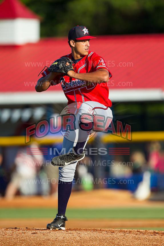 Danville Braves starting pitcher Alec Grosser (24) in action against the Burlington Royals at Burlington Athletic Park on July 5, 2014 in Burlington, North Carolina.  The Royals defeated the Braves 5-4.  (Brian Westerholt/Four Seam Images)