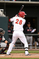 Harrisburg Senators outfielder Caleb Ramsey (28) at bat during a game against the New Britain Rock Cats on April 28, 2014 at Metro Bank Park in Harrisburg, Pennsylvania.  Harrisburg defeated New Britain 9-0.  (Mike Janes/Four Seam Images)