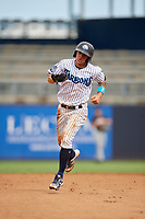 Tampa Tarpons Pablo Olivares (7) rounds the bases after an Alexander Palma (not shown) home run during a Florida State League game against the Jupiter Hammerheads on July 26, 2019 at George M. Steinbrenner Field in Tampa, Florida.  Tampa defeated Jupiter 2-0.  (Mike Janes/Four Seam Images)