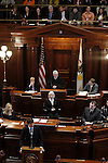 Gov. Rod Blagojevich made his first appearance at his Senate impeachment trial on the fourth and last day, refusing to testify but delivering closing arguments on his own behalf at the Illinois State Capitol in Springfield, Ill., Thursday, January 29, 2009..Kristen Schmid Schurter