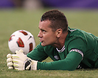 Shay Given #1 of Manchester City watches a replay of the third goal during an international friendly match against Inter Milan on July 31 2010 at M&T Bank Stadium in Baltimore, Maryland. Milan won 3-0.