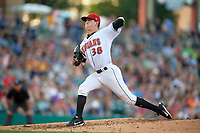 Indianapolis Indians starting pitcher Brandon Waddell (38) delivers a pitch during a game against the Rochester Red Wings on July 24, 2018 at Victory Field in Indianapolis, Indiana.  Rochester defeated Indianapolis 2-0.  (Mike Janes/Four Seam Images)