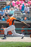 Adrian Marin (3) of the Frederick Keys follows through on his swing against the Lynchburg Hillcats at Calvin Falwell Field at Lynchburg City Stadium on May 14, 2015 in Lynchburg, Virginia.  The Hillcats defeated the Keys 6-3.  (Brian Westerholt/Four Seam Images)