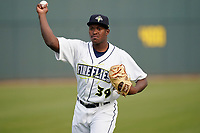 Pitcher Anderson Paulino (39) of the Columbia Fireflies before a game against the Charleston RiverDogs on Tuesday, May 11, 2021, at Segra Park in Columbia, South Carolina. (Tom Priddy/Four Seam Images)