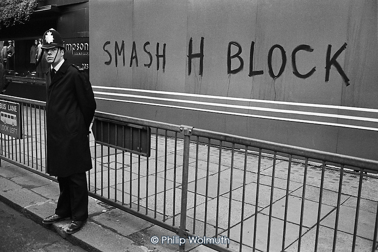Smash H Block graffiti in Picadilly, on the route of demonstrators marching to picket Downing Street and Rochester Row police station.