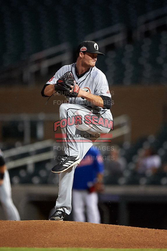 Glendale Desert Dogs starting pitcher Griffin Roberts (29), of the St. Louis Cardinals organization, during an Arizona Fall League game against the Scottsdale Scorpions on September 20, 2019 at Salt River Fields at Talking Stick in Scottsdale, Arizona. Scottsdale defeated Glendale 3-2. (Zachary Lucy/Four Seam Images)