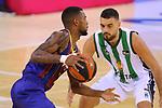 League ACB-ENDESA 2020/2021.Game 15.<br /> FC Barcelona vs Club Joventut Badalona: 88-74.<br /> Cory Higgins vs Albert Ventura.