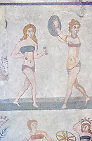 Roman mosaic of young Roman women in Bikinis exercising from the Room of the Ten Bikini Girls, room no 30, from the Ambulatory of The Great Hunt, room no 28,  at the Villa Romana del Casale which containis the richest, largest and most complex collection of Roman mosaics in the world. Constructed in the first quarter of the 4th century AD. Sicily, Italy. A UNESCO World Heritage Site.