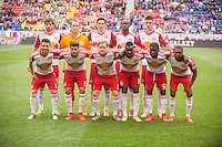 HARRISON, NJ - Sunday April 26, 2015: The New York Red Bulls take on the Los Angeles Galaxy at home at Red Bull Arena in regular season MLS play.