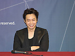 Yuchun, Aug 03, 2014 : South Korean boy band JYJ's Yuchun attends a news conference after a showcase for the group's new second regular album, 'JUST US', in Seoul, South Korea.  (Photo by Lee Jae-Won/AFLO) (SOUTH KOREA)
