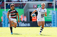 5th June 2021; Mattioli Woods Welford Road Stadium, Leicester, Midlands, England; Gallagher Premiership Rugby, Leicester Tigers versus Bristol Bears; Max Malins of Bristol Bears sprints clear of Matt Scott of Leicester Tigers to score his team's third try