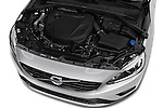 Car Stock 2017 Volvo S60 R-Design 4 Door Sedan Engine  high angle detail view