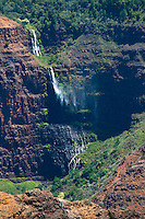 A windblown waterfall in Waimea Canyon, Kaua'i.
