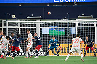 FOXBOROUGH, MA - MAY 22: Matt Turner #30 of New England Revolution watches a high ball near the New England Revolution goal during a game between New York Red Bulls and New England Revolution at Gillette Stadium on May 22, 2021 in Foxborough, Massachusetts.