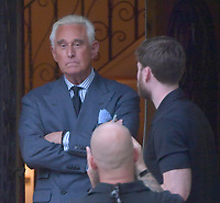 FORT LAUDERDALE, FL - JANUARY 27: Trump ally Roger Stone Whom Robert Mueller recently arrested in a pre dawn raid at this home by the head of the Special Counsel investigation into Russian interference, apparently thinks he is in deep crap because while he was in the house filming with Infowars reporter Owen Shroyer he just sent his second wife second wife Nydia Bertran Stone out for a toilet paper and toilet cleaner. Roger Jason Stone Jr. is an American political consultant, lobbyist and strategist noted for his use of opposition research, usually for candidates of the Republican Party on January 27, 2019 in Fort Lauderdale, Florida<br /> <br /> People:  Roger Stone, Owen Shroyer
