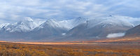 Termination dust (first snowfall) on the south side of the Kigluaik mountains on the Seward Peninsula, arctic Alaska.