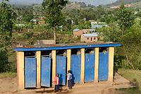 RWANDA, Ruhengeri, school, toilets for pupils