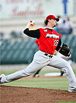 Grand Prairie AirHogs Pitcher John Brownell (17) in action during the American Association of Independant Professional Baseball game between the Grand Prairie AirHogs and the Fort Worth Cats at the historic LaGrave Baseball Field in Fort Worth, Tx. Fort Worth defeats Grand Prairie 6 to 1.