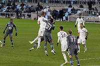 ST PAUL, MN - NOVEMBER 22: Danny Wilson #4 of Colorado Rapids  and Bakaye Dibassy #21 of Minnesota United FC battle for the ball during a game between Colorado Rapids and Minnesota United FC at Allianz Field on November 22, 2020 in St Paul, Minnesota.