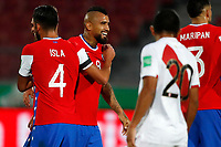 13th November 2020; National Stadium of Santiago, Santiago, Chile; World Cup 2020 Football qualification, Chile versus Peru;  Arturo Vidal of Chile celebrates his goal with Mauricio Isla in the 20th minute 1-0