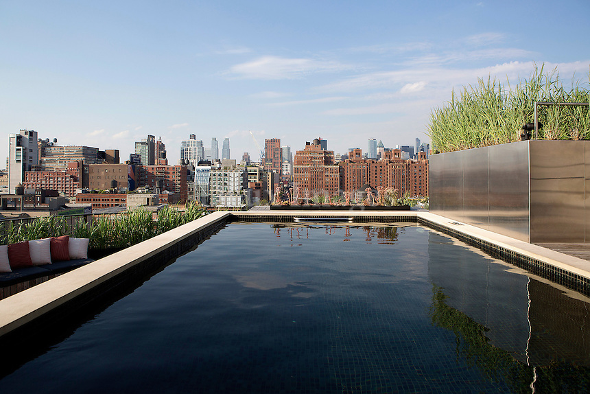 penthouse with pool area<br /> <br /> <br /> A 3500 sq. ft. penthouse duplex on Tenth Avenue in New York City.  Architect and designer Francis D'Haene of D'Apostrophe design was brought in to make additions to the interior and to develop the 1500 sq. ft roof with an endless pool and outdoor living spaces.