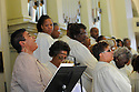 Leah Chase sings Amazing Grace as family, friends and well-known politicians say goodbye to former US Rep. Lindy Boggs during her funeral at St. Louis Cathedral, New Orleans, Aug. 1, 2013.