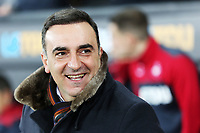 Swansea manager Carlos Carvalhal stands on the touch line during the Premier League match between Swansea City and Liverpool at The Liberty Stadium, Swansea, Wales, UK. Monday 22 January 2018
