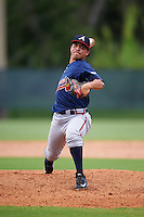 GCL Braves starting pitcher Odalvi Javier (40) during a game against the GCL Phillies on August 3, 2016 at the Carpenter Complex in Clearwater, Florida.  GCL Phillies defeated GCL Braves 4-3 in a rain shortened six inning game.  (Mike Janes/Four Seam Images)