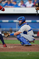 Buffalo Bisons catcher Reese McGuire (3) waits to receive a pitch during a game against the Syracuse Chiefs on September 2, 2018 at NBT Bank Stadium in Syracuse, New York.  Syracuse defeated Buffalo 4-3.  (Mike Janes/Four Seam Images)