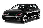 2018 Volkswagen Golf-GTI-Performance - 5 Door Hatchback Angular Front stock photos of front three quarter view