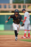 Bradenton Marauders Jesse Medrano (3) running the bases during a Florida State League game against the Palm Beach Cardinals on May 10, 2019 at LECOM Park in Bradenton, Florida.  Bradenton defeated Palm Beach 5-1.  (Mike Janes/Four Seam Images)