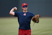Catcher Logan Brown (99) of the Rome Braves warms up before a game against the Columbia Fireflies on Tuesday, June 4, 2019, at Segra Park in Columbia, South Carolina. Columbia won, 3-2. (Tom Priddy/Four Seam Images)