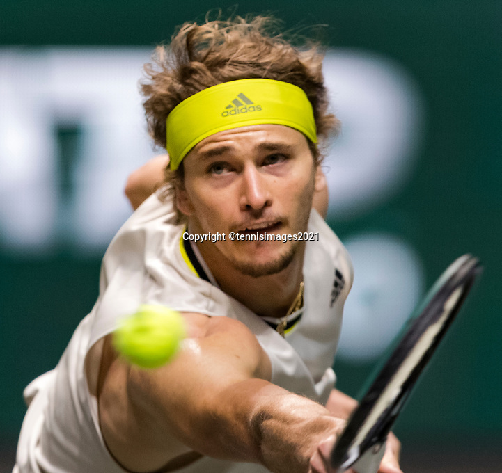 Rotterdam, The Netherlands, 3 march  2021, ABNAMRO World Tennis Tournament, Ahoy, First round match: Alexander Zwerev (GER).<br /> Photo: www.tennisimages.com/henkkoster