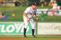 Phil Gosselin #30 of the Rome Braves on defense against the Greenville Drive at State Mutual Stadium July 24, 2010, in Rome, Georgia.  Photo by Brian Westerholt / Four Seam Images