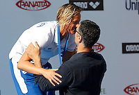 Trofeo Settecolli di nuoto al Foro Italico, Roma, 15 giugno 2013.<br /> Federica Pellegrini, of Italy, is awarded by actor Raoul Bova after winning in the women's 200 meters backstroke at the Sevenhills swimming trophy in Rome, 15 June 2013.<br /> UPDATE IMAGES PRESS/Isabella Bonotto