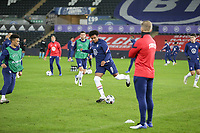 SWANSEA, WALES - NOVEMBER 12: Weston McKennie #8 of the United States national team warming up before a game between Wales and USMNT at Liberty Stadium on November 12, 2020 in Swansea, Wales.