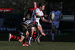Ulster wing Mike Allen gets his pass away as Dragons fullback Carl Meyer closes in.<br /> Guinness Pro12<br /> Gwent Dragons v Ulster<br /> 08.03.15<br /> ©Steve Pope - SPORTINGWALES