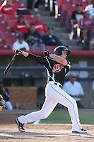 Marcus Littlewood #30 of the High Desert Mavericks bats against the San Jose Giants at Heritage Field on August 31, 2014 in Adelanto, California. High Desert defeated San Jose, 9-6. (Larry Goren/Four Seam Images)