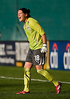 Washington Freedom goalkeeper (18) Erin McLeod yells to her team at RFK Stadium in Washington, DC.  The Washington Freedom defeated Saint Louis Athletica, 3-1.