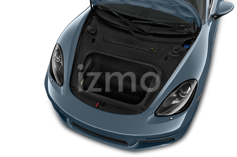 Car stock 2018 Porsche 718 Cayman S 2 Door Coupe engine high angle detail view