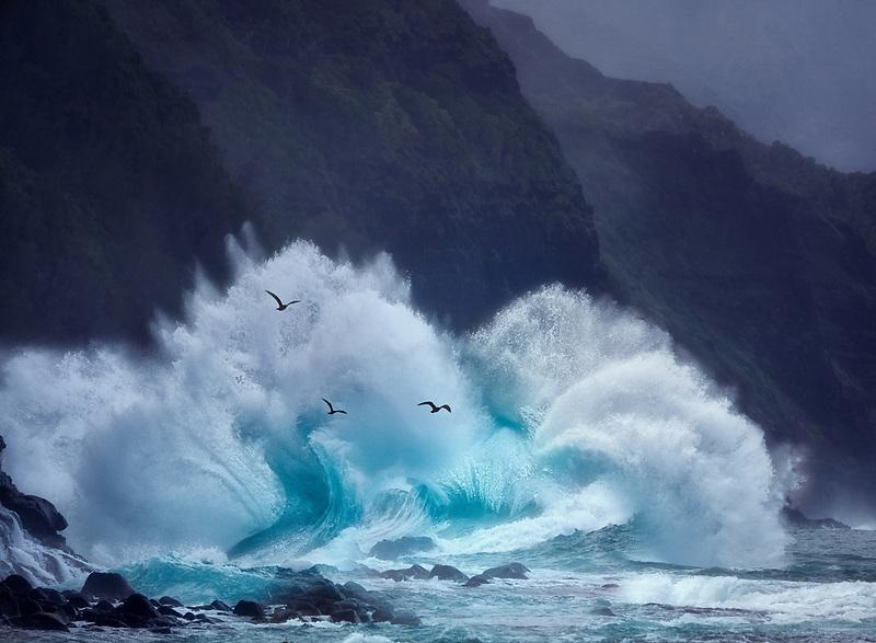 Storm waves, off of Ke'e Beach, Kauai, Hawaii