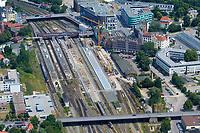 Hauptbahnhof:EUROPA, DEUTSCHLAND, SCHLESWIG- HOLSTEIN, LUEBECK 23.06.2005:Umbau des Luebecker Hauptbahnhofs, Haupt- Bahnhof, Deutsche Bahn<br /><br />Luftaufnahme, Luftbild,  Luftansicht