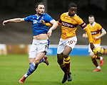 Motherwell v St Johnstone…20.02.21   Fir Park   SPFL<br />Chris Kane and Tyler Magloire<br />Picture by Graeme Hart.<br />Copyright Perthshire Picture Agency<br />Tel: 01738 623350  Mobile: 07990 594431