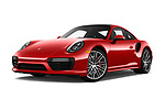 Stock pictures of low aggressive front three quarter view of 2019 Porsche 911 Turbo-Coupe 2 Door Coupe Low Aggressive